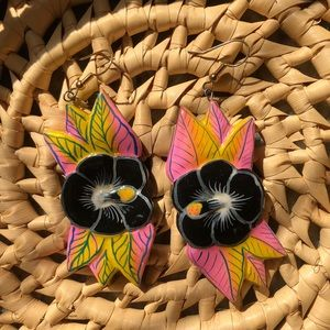 Handmade Wooden Hawaiian Flower Earrings